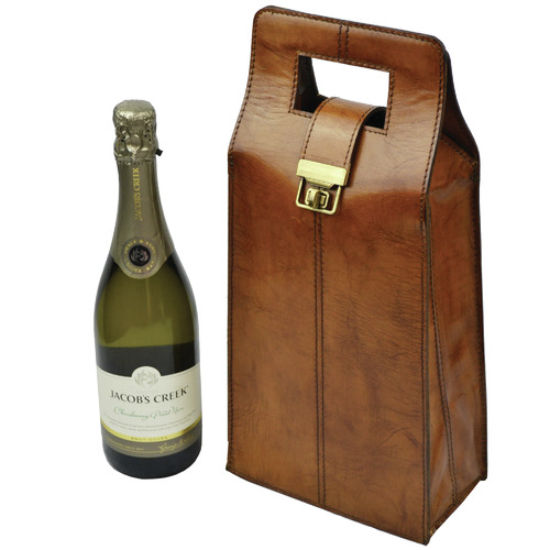 Kundra Musigny Leather Double Wine Carrier