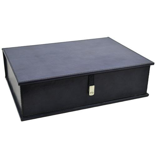 Kundra Blue Pancho Leather Document Box
