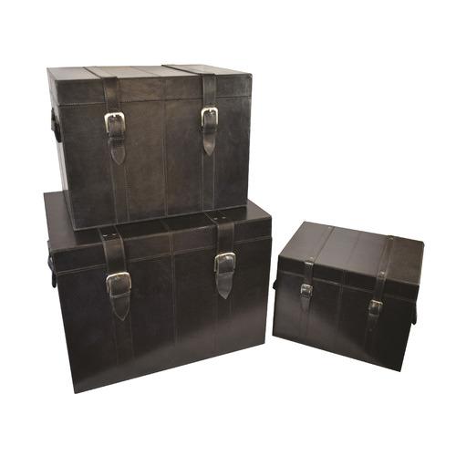 Kundra 3 Piece Black Wright Leather Trunk Set