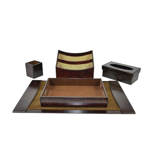 5 Piece Renzo Leather Desktop Set