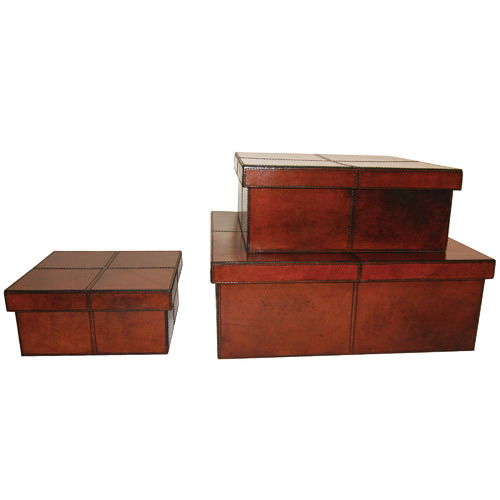 Kundra 3 Piece Tan Leitwind Leather Box Set