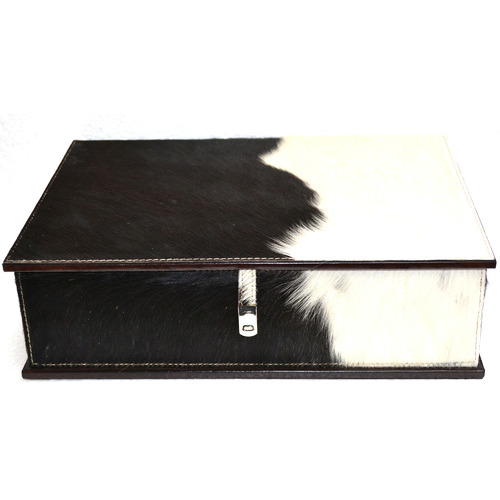 Kundra Black & White Pancho Leather Document Box