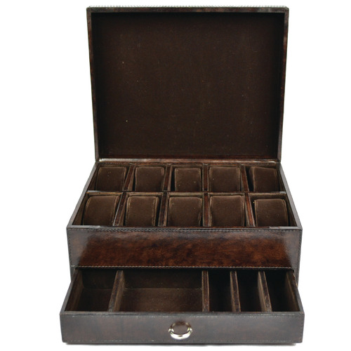 Kundra Chaumet 10 Slot Leather Watch Holder & Jewellery Drawer