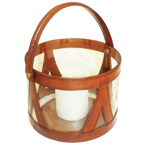 Tan Cylinder Leather & Glass Hurricane with Handle