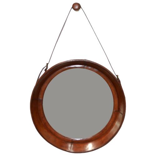 Tan Leather Round Mirror
