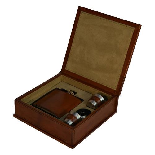 Leather Hip Flask Box Set