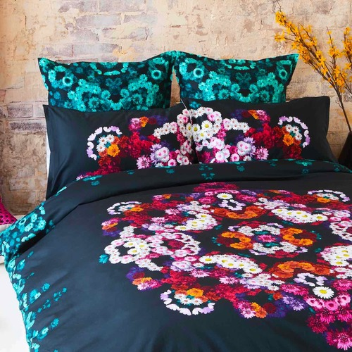 Luxotic Charcoal Giselle Cotton Sateen Quilt Cover Set