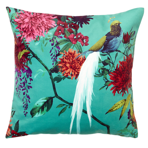 Luxotic Teal Chintz Velvet Cushion