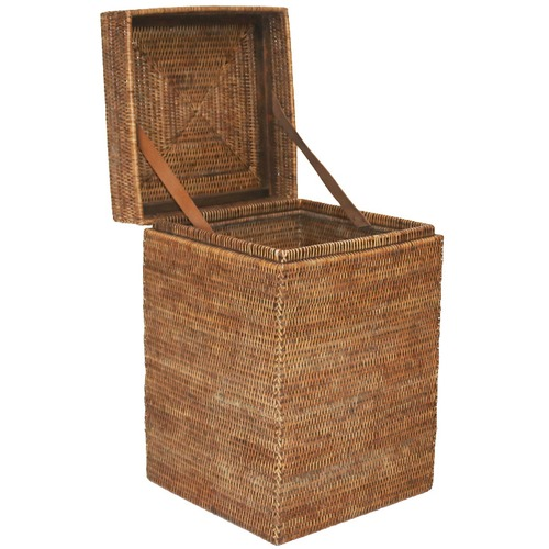 Euro Living Tobacco Hatien Rattan Laundry Basket