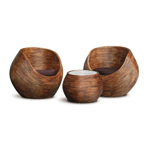 La Verde Round Rattan Tub Chair and Coffee Table