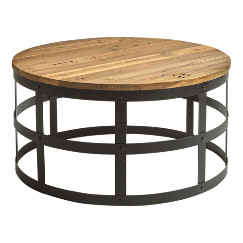 Industrial Themed Coffee Table: Billie Round Industrial Style Coffee Table