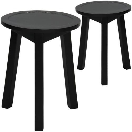 La Verde Sierra Round Mahogany Wood Side Tables