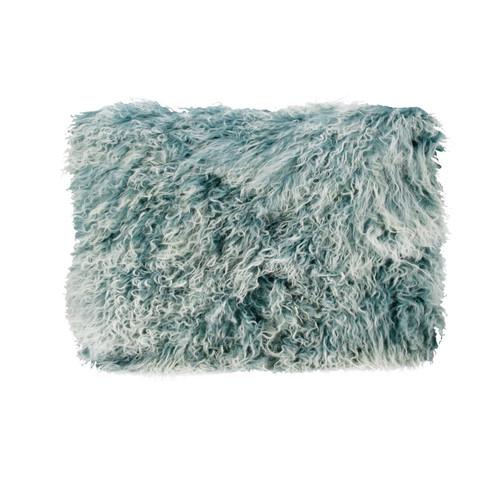 Park Avenue Blue Snowflake Tibetan Fur Rectangular Cushion