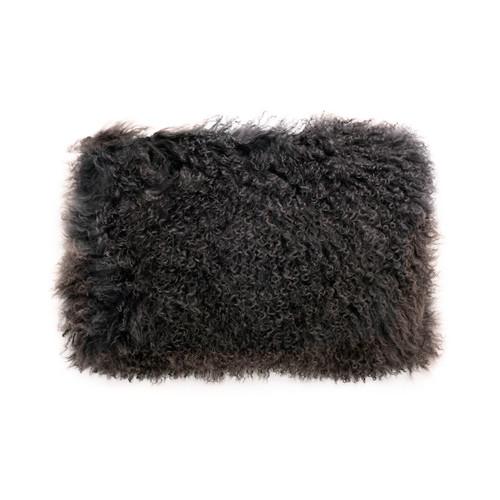 Park Avenue Charcoal Tibetan Fur Rectangular Cushion
