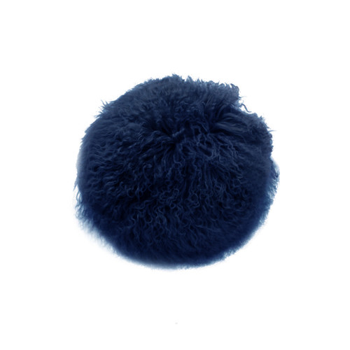 Park Avenue Navy Tibetan Fur Round Cushion