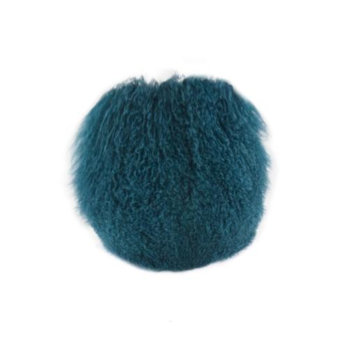 Park Avenue Peacock Tibetan Fur Round Cushion