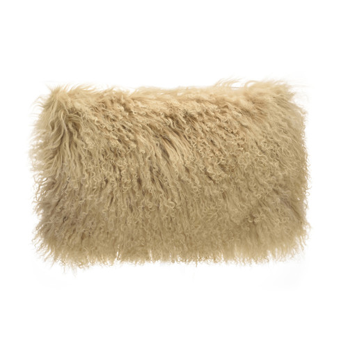 Park Avenue Tan Tibetan Fur Rectangular Cushion