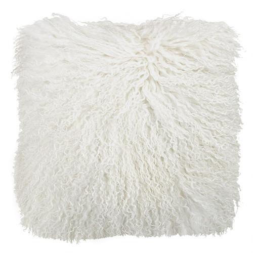 Park Avenue Natural White Tibetan Fur Cushion
