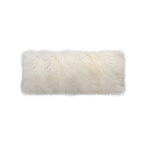 Park Avenue Natural White Tibetan Fur Long Rectangular Cushion