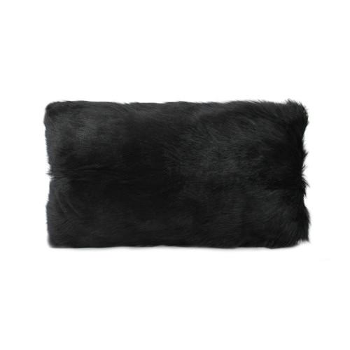 Park Avenue Black Goat Fur Rectangular Cushion
