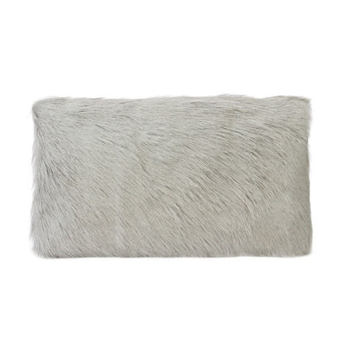 Park Avenue Light Grey Goat Fur Rectangular Cushion