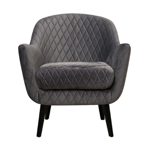Park Avenue Quilted Velvet Club Chair with Black Legs