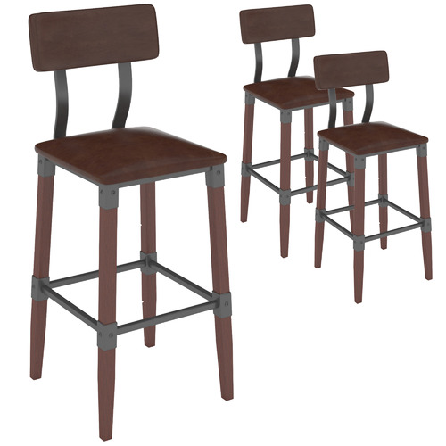 Furnlink 73cm Genos Faux Leather Barstools with Back Rest