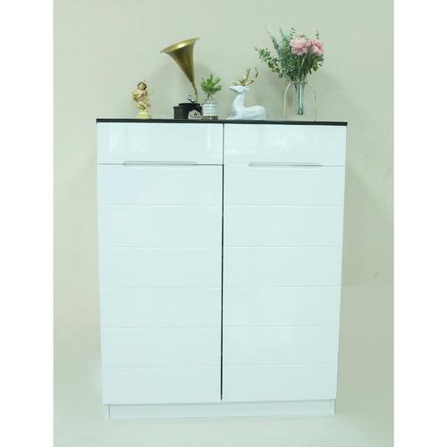 Rowland & Archibald 2 Door Shoe Cabinet in Black / White