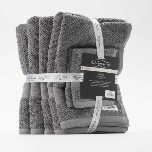 Onkaparinga 7 Piece Rivet 550GSM Cotton Bathroom Towel Set