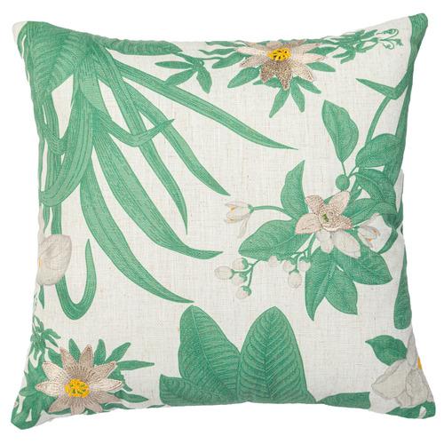 Floral Magnolia Linen-Blend Cushion