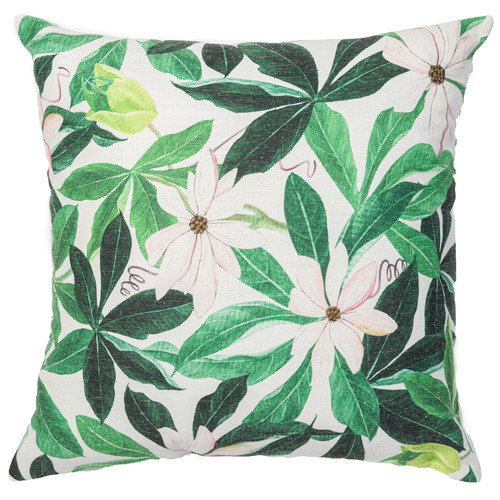 Rapee Green Passiflora Linen-Blend Cushion