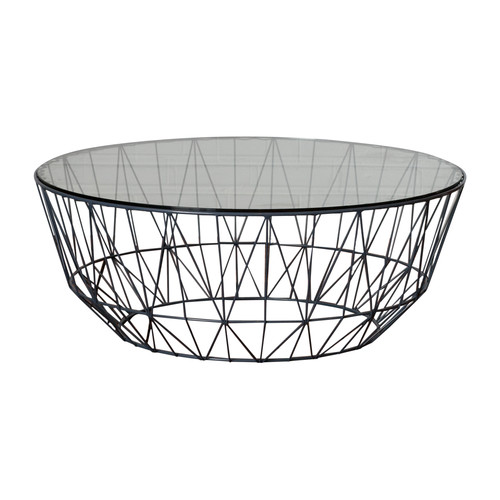 Club Wire Glass Coffee Table 90cm   Temple & Webster