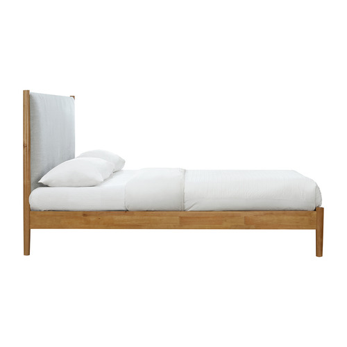Oslo Home Natural & Grey Luna Upholstered Bed Frame