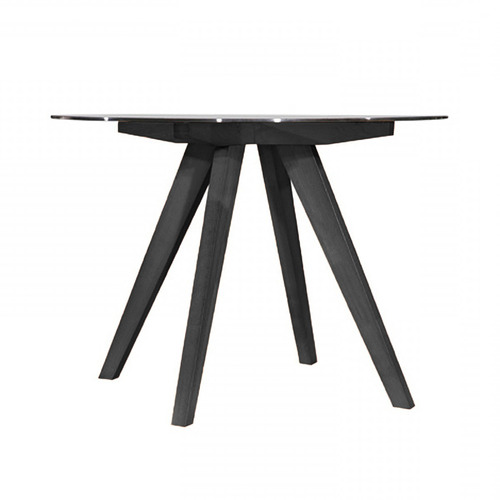 Oslo Home Hjordis Scandi Beech Wood & Glass-Top Dining Table