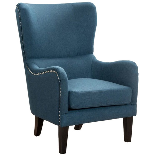 Dark Blue High Back Fabric Armchair | Temple & Webster