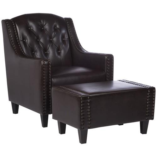Sky Blue Furniture Elsternwick Leather Armchair U0026amp; Footstool Set