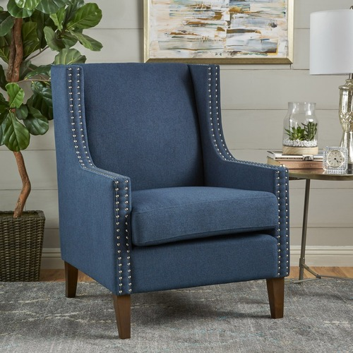 Sky Blue Furniture Woods Studded Wingback Club Armchair