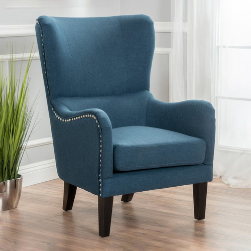 Furniture Market Dark Blue High Back, High Back Upholstered Chairs With Arms