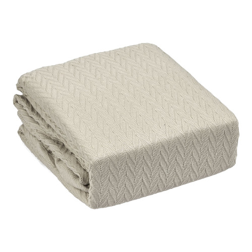 Bianca Taupe Cheshire Cotton Herringbone Blanket