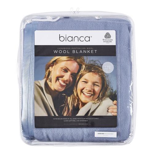 Bianca Steel Blue Australian Wool Blanket