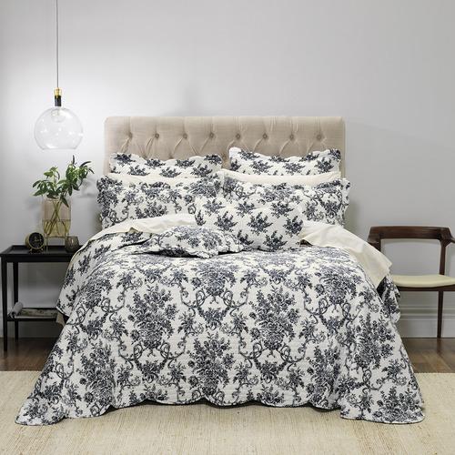 Bianca Black Floral Ashton Bedspread Set