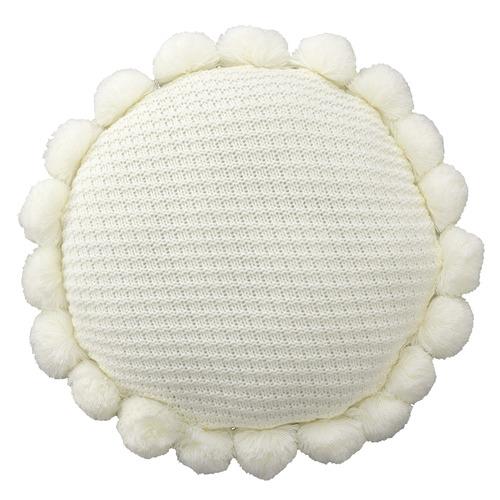 Bianca Ivory Pom Pom Round Cushion