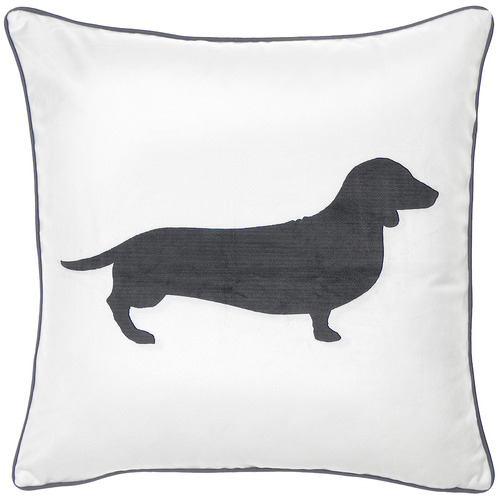 Charcoal Dachshund Coordinate Velvet Cushion