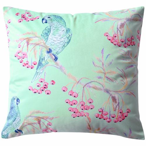 Blue Parakeets Coordinate Velvet Cushion