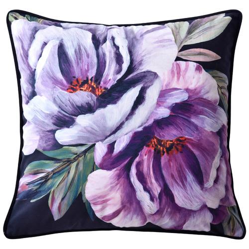 Bianca Black Peony Velvet Cushion