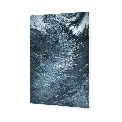 Art Illusions Mono Blue Moonlight Ripple Canvas Wall Art