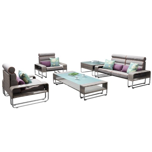 Indosoul Highway 4 Piece Outdoor PE Rattan Lounge Set