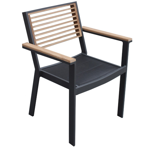 St Lucia Metal & Wood Outdoor Dining Chair