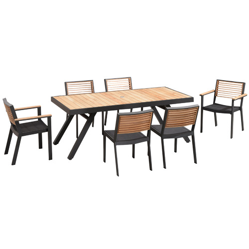 Bar Height Glass Table, 6 Seater St Lucia Aluminium Teak Outdoor Dining Set Temple Webster