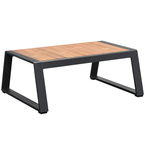 Indosoul Charcoal Caribbean Aluminium & Teak Outdoor Coffee Table